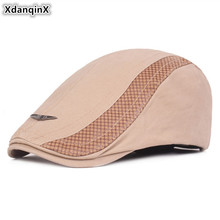 XdanqinX Adjustable Size Mens Cotton Hat Simple Adult Men Berets 2019 New Personality Hip Hop Cap British Young Dads Hats