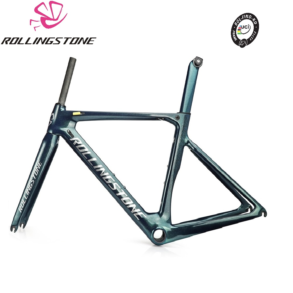 ROLLING STONE FINDER Road Carbon Frame Set UCI Approval Aero Road Frame Set Chameleon Green Blue