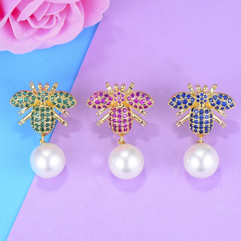 30*19mm Blue/Red/Green Bee Pearl Stud Earrings with Full Cubic Zirconia Earrings For Women Important occasion Party Jewelry image