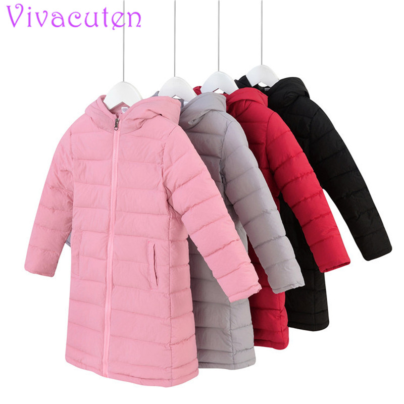 76861d2c3f1e 2018 Kids Down Winter Coats Girls Solid Long Parka Jacket With ...