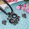 2017 New Black Circle Rope Chain Choker Necklaces Collares Women Drop Earrings 2 pcs/sets Wedding Oil Painting Jewelry Sets