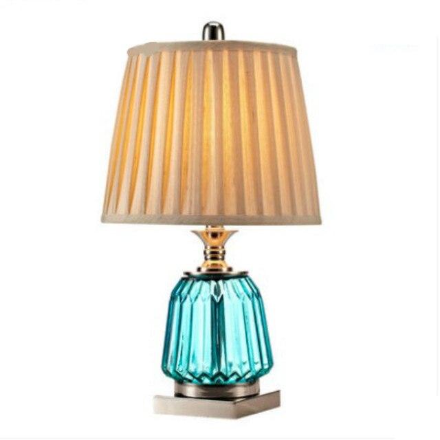 Mediterranean Sea Blue Yellow Glass Cloth E27 Table Lamp For Wedding