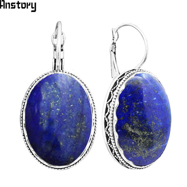 Oval Natural Lapis Lazuli Earrings For Women Vintage Antique Silver Plated Flower Pendant Cuff Fashion
