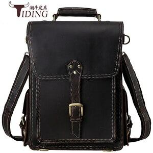 Мужской рюкзак Crazy Horse из воловьей кожи, винтажный дорожный Повседневный Рюкзак, школьные сумки для книг, брендовая мужская сумка для ноутбу...