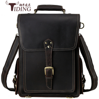 Crazy Horse Cowhide Men Backpack Genuine Leather Vintage Daypack Travel Casual School Book Bags Brand 2017 15 Male Laptop Bags