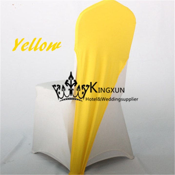 Wholesale Price Yellow Color Spandex Chair Cap  Chair Hood For Wedding Chair Cover