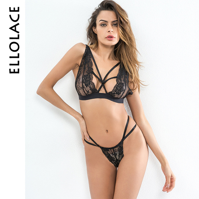 34e9addf384a3 Ellolace Lace Bra Set Women Strappy Lingerie Set Underwear Seamless  Transparent Bralette Sets Bandage G-string Thong Brief Sets
