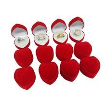 個ロマンチックなベルベットの誕生日婚約指輪ボックス赤ハート型のバレンタインデーリングギフトボックスのベルベットのリングボックス 卸売 24
