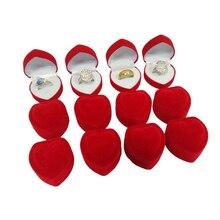 Toptan 24 adet romantik kadife doğum günü nişan yüzüğü kutusu kırmızı kalp şeklinde sevgililer günü yüzük hediye kutusu kadife yüzük kutusu