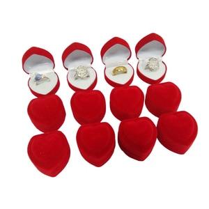 Image 1 - Wholesale 24Pcs Romantic Velvet Birthday engagement Ring Box Red Heart Shaped Valentines Day Ring Gift Box Velvet Ring Box
