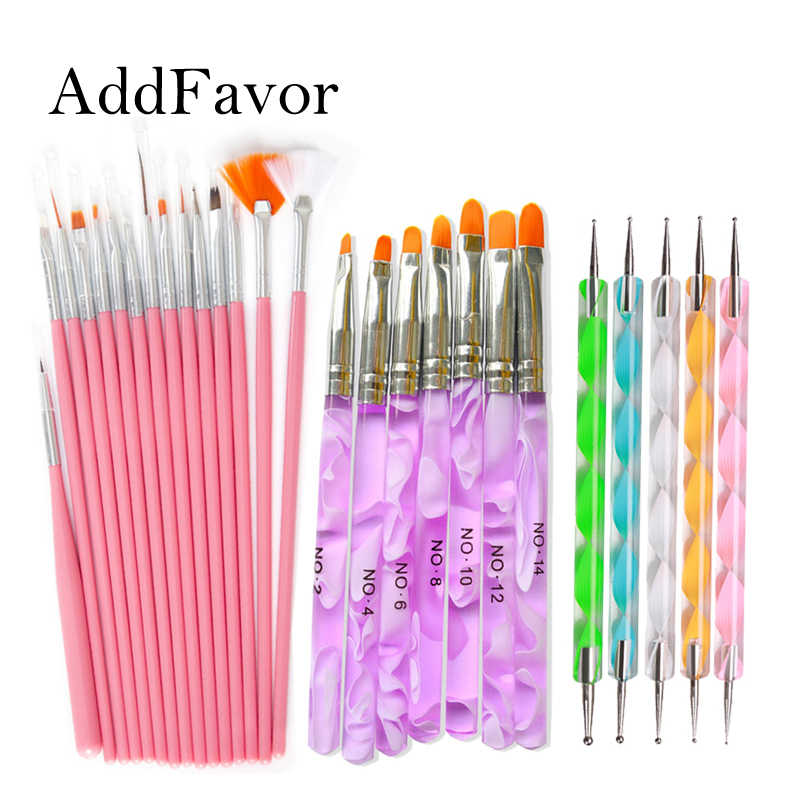 Addfavor Acrylic Nail Art Brush Kit UV Gel Polish Painting Drawing Brushes Pen Nail Dotting Manicure Clean Brush Tools