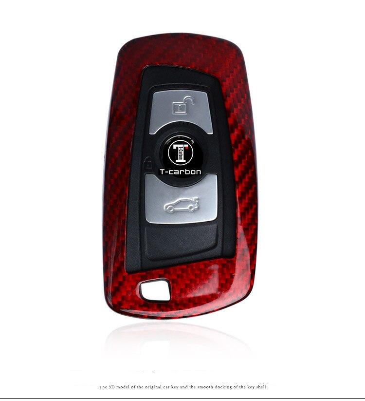 1 Set Auto fibre de carbone à distance voiture clé porte-couvercle coque de peau pour BMW 2 3 6 série accessoires porte-clés