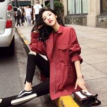 2019 New Trench Coat for Women Casual Slim Cotton Spring/Autumn Long Coat Women's Burgundy Zipper Overcoat with Pocket