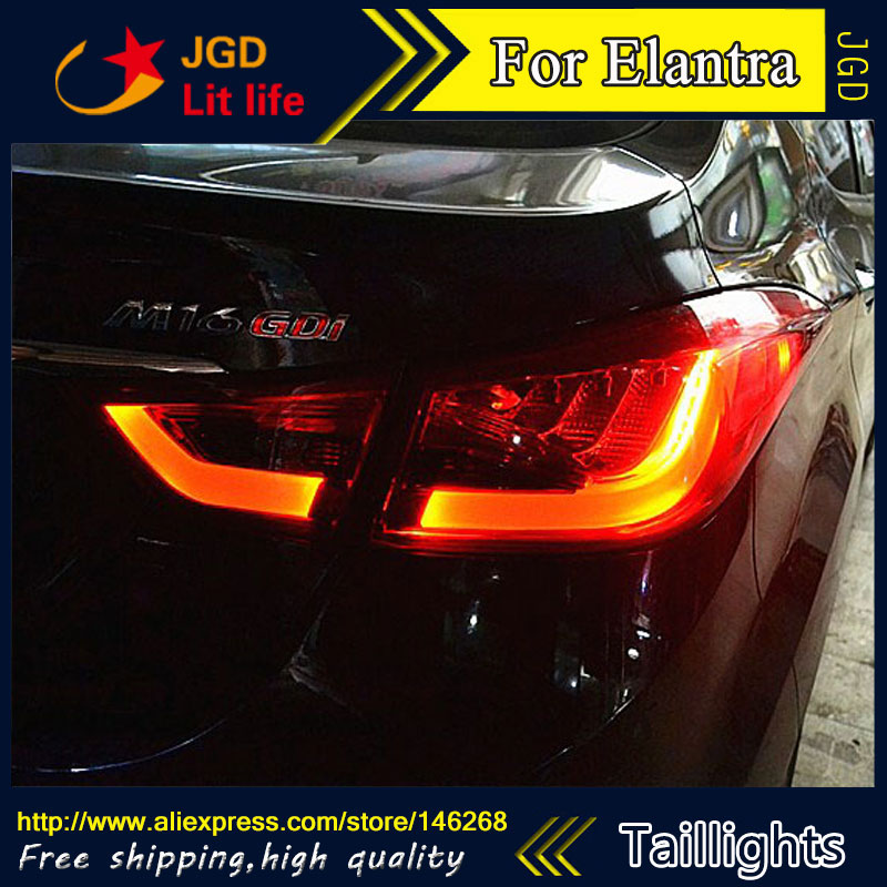 Car Styling tail lights for Hyundai Elantra LED Tail Lamp rear trunk lamp cover drl+signal+brake+reverse car styling tail lights for ford ecopsort 2014 2015 led tail lamp rear trunk lamp cover drl signal brake reverse