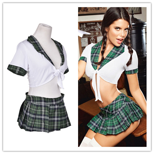 1Set <font><b>Sexy</b></font> Students School Girl Uniform Role Play <font><b>Costumes</b></font> Adults <font><b>Halloween</b></font> Clothes <font><b>Women</b></font> Girl Plaid Cosplay Clothing image