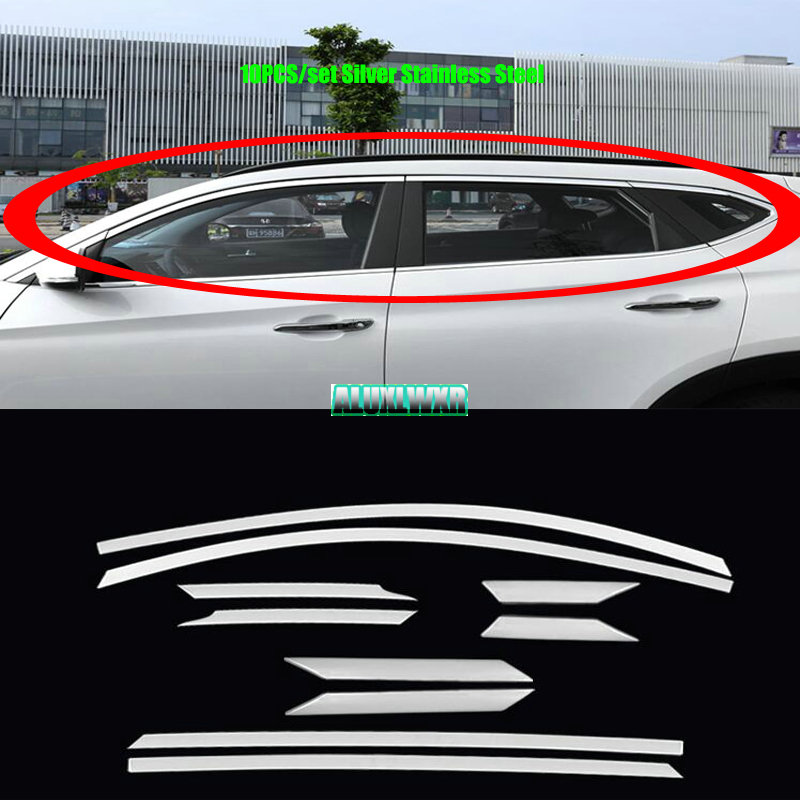 Car Window ABC-pillars Decorative Sticker For hyundai tucson TL 2015 2016 Exterior Cover Trim Strip auto Accessories car-styling