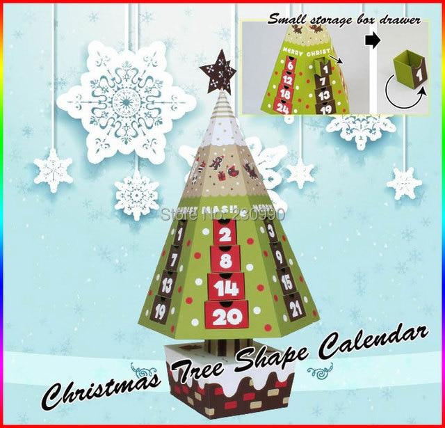 Forma de Árbol De navidad Calendario de Papel Caja de Almacenamiento ...