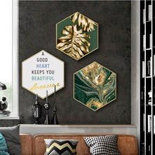 Luxury abstract gold Porch decorative painting modern Livingroom background wall restaurant hexagon Nordic paintings