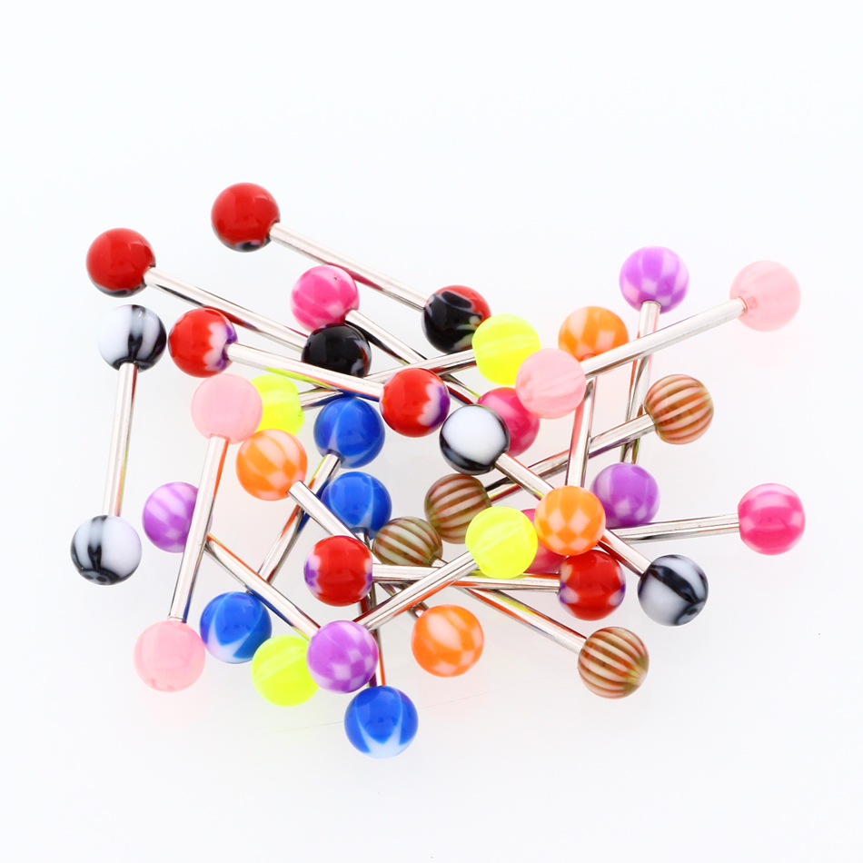 Lot Steel Tongue Rings Piercings Nipple Rings Barbell Piercings Tongue  Acrylic Screw Balls Earring Tragus Body Jewelry