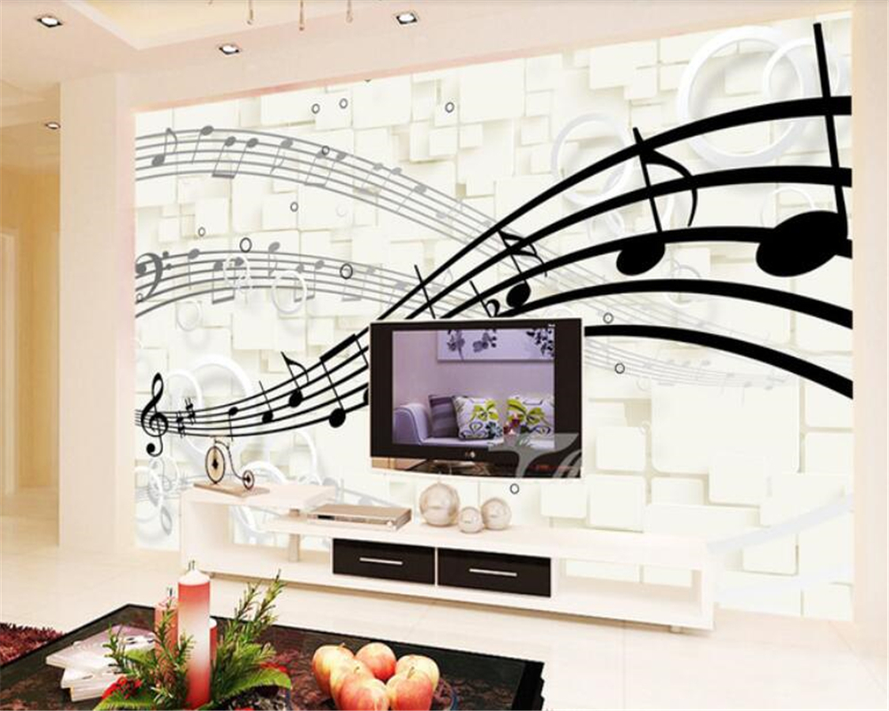 Beibehang Wall Papers Home Decor Classic Stylish 3D Musical Note Wallpaper Mural Home Decor Living Room Wall Papel De Parede 3d