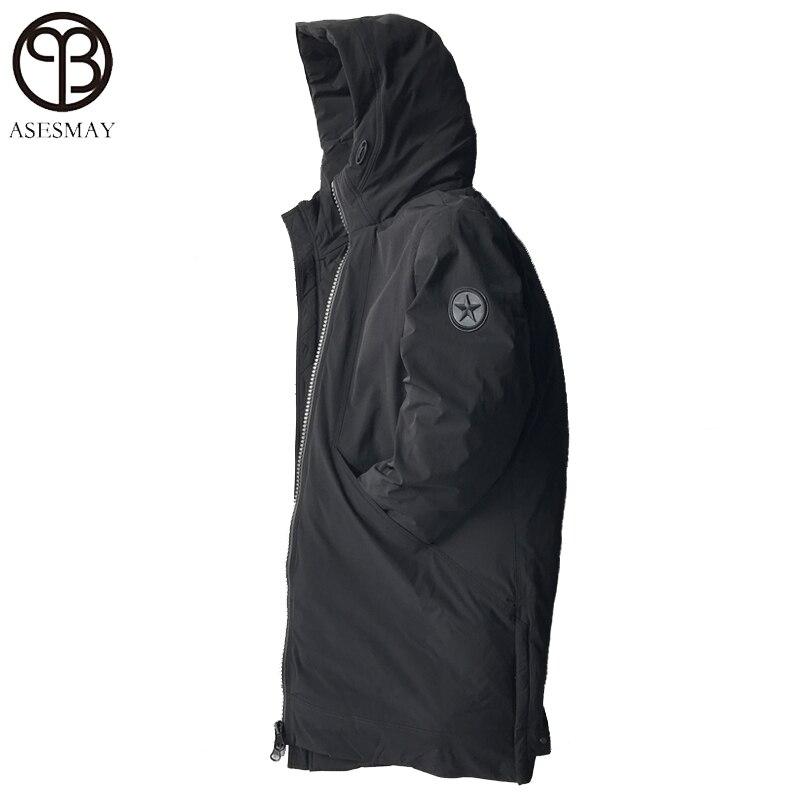 5c6668a63 Hot Sale] Minglu Mid Long Hooded Down Coat Male Hight Quality Slim ...