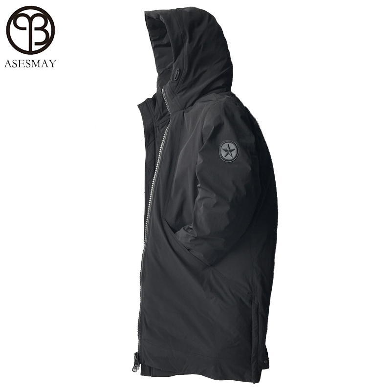 Asesmay 2018 High Quality Warm Men Down Jacket Loose Winter Coat Mens Casual Outwear Thicken Long