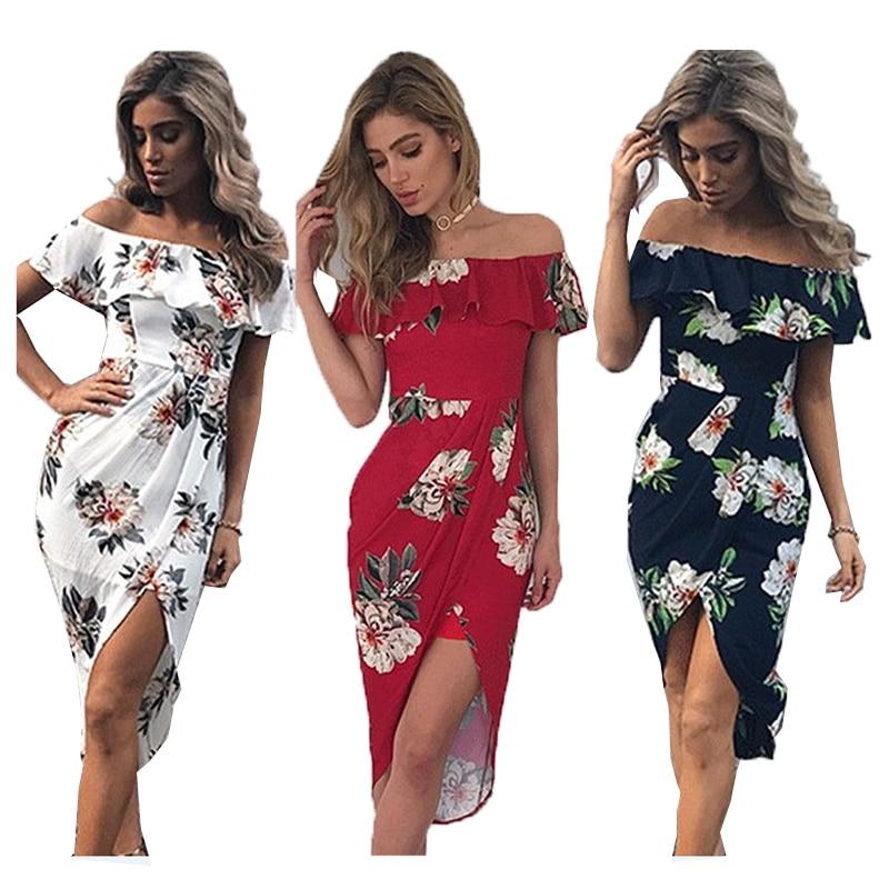 Boho style long dress women Off shoulder beach summer Vestido Floral print Vintage chiffon white maxi dresses vestidos de festa
