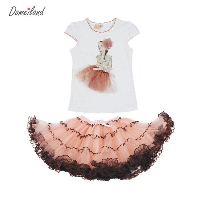 2017 модный бренд летние дети одежда Принцесса девушки бутик одежды наборы рябить топы короткого слоя кружева юбки костюмы