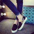2017 Novas Mulheres Plataforma de Marca Sapatos De Luxo Pedal Sapatas de Lona Das Senhoras Primavera Outono Breves Calçados Casuais Lisos dames schoenen