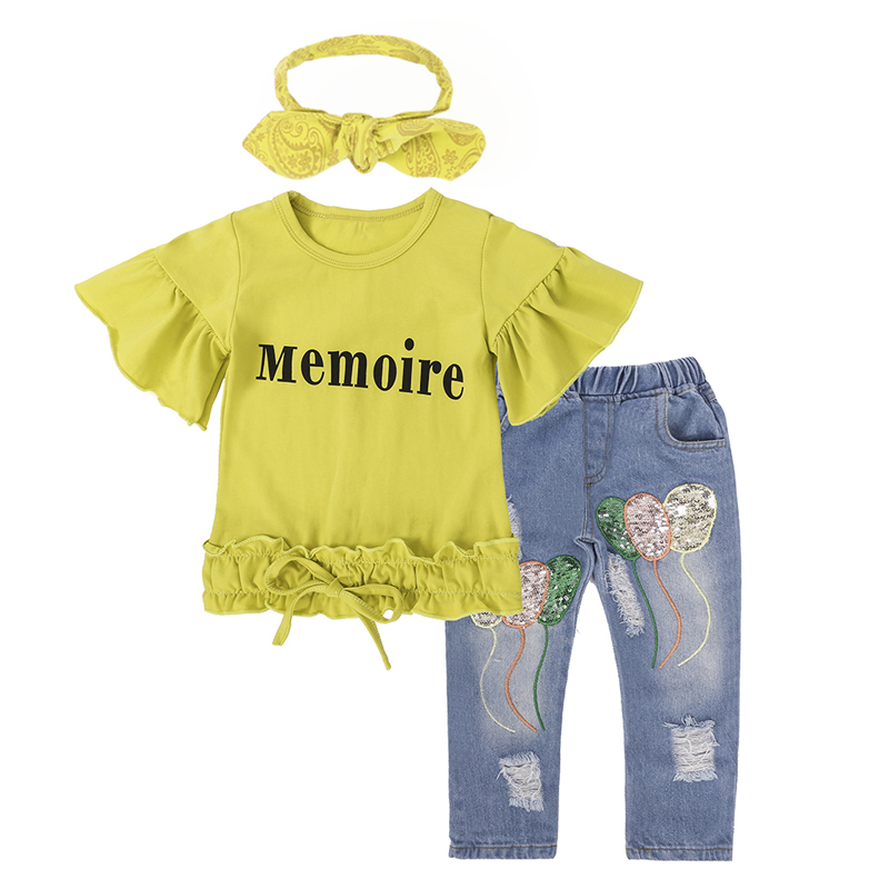 Girls Clothes Set Summer Children Clothing Cotton Short Sleeve Tops+Jeans+Scarf 3 pcs Fashion Baby Girl Clothes Kids Costume