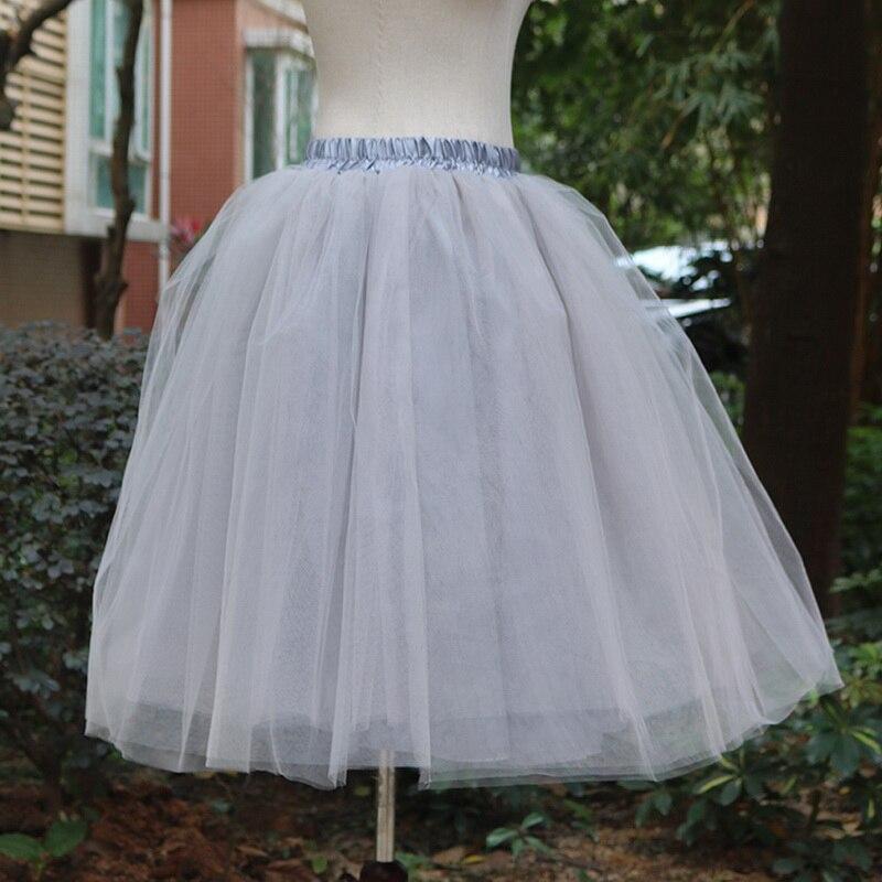Тюлевая юбка принцессы, пышная Женская Лолита, белая сетчатая юбка, балетная юбка для девочки, 5XL размера плюс, черная одежда для рождественской вечеринки, танцевальная одежда - Цвет: Серый