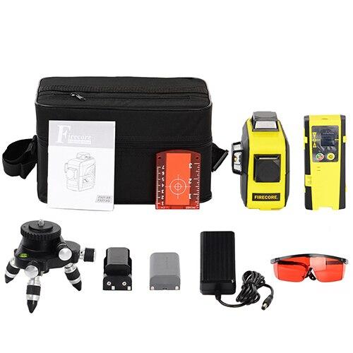 F93T-XR/F93T-XG 12 линий 3D литиевая батарея красный/зеленый лазерный уровень+ приемник+ Магнитный кронштейн+ 3M штатив - Color: Red 9