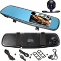 4.3 Inch 1080P HD In-Car Parking Rear View Mirror DVR Recorder Dual-lens Dash Camera Monitor 32G
