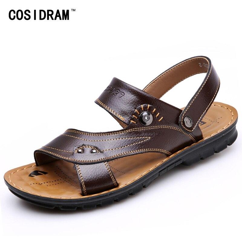 New 2016 Summer Men Sandals Genuine Leather Fashion Vintage Flat Heel Solid Beach Sandals For Men