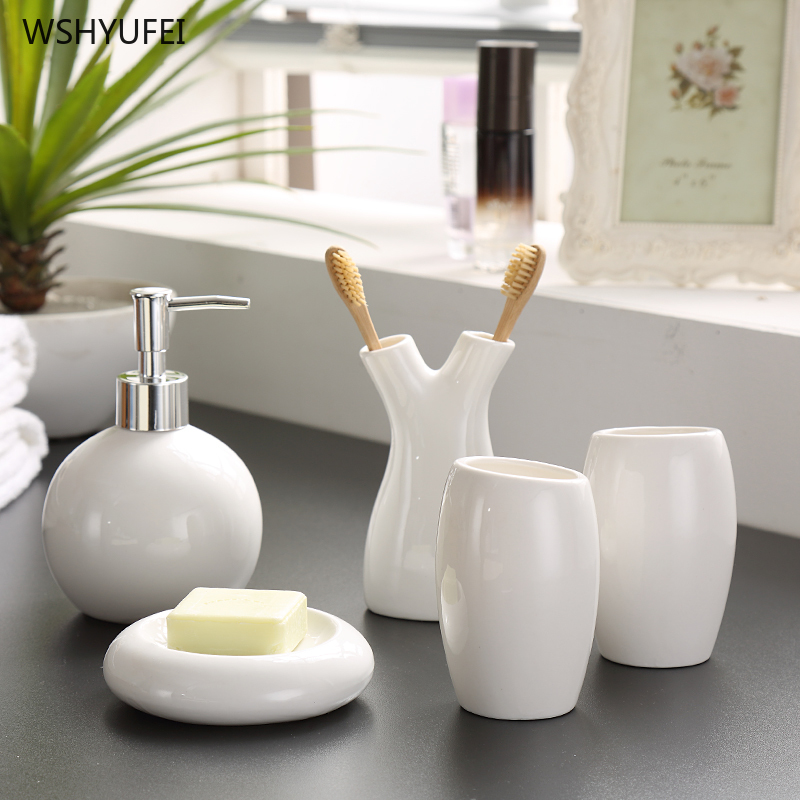 5pcs Wedding decoration China white Thread floral patterns Ceramics Bathroom suite accessories toothbrush holder image