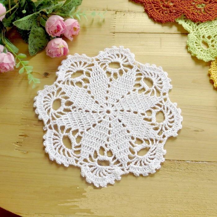 20CM Handmade Crochet Doily Cotton Table Mat Vintage Floral Hand Crochet Lace Knitted Doily Cup Pads Doilies 2pcs/set