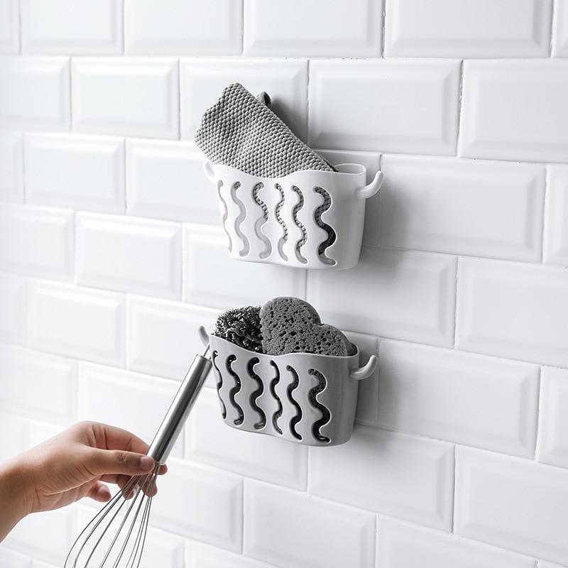 1pcs Portable Kitchen Sink Dish Sponge Holder Storage Rack Hanging Drain Basket Bathroom Storage Shelf Storage With Suction Cup in Storage Holders Racks from Home Garden