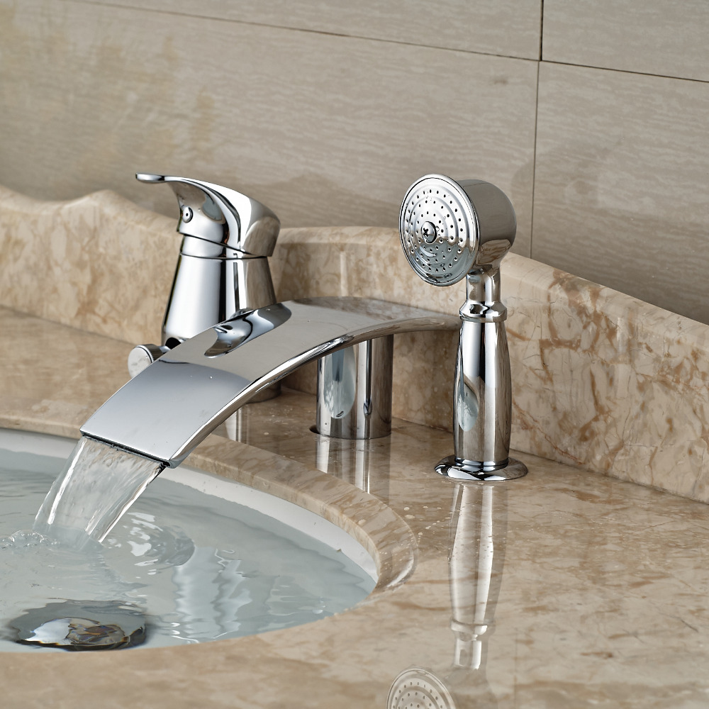 popular waterfall spout tub fillerbuy cheap waterfall spout tub  - deck mount widespread tub filler pcs chrome brass bathroom bathtub mixer faucetwaterfall spout(china
