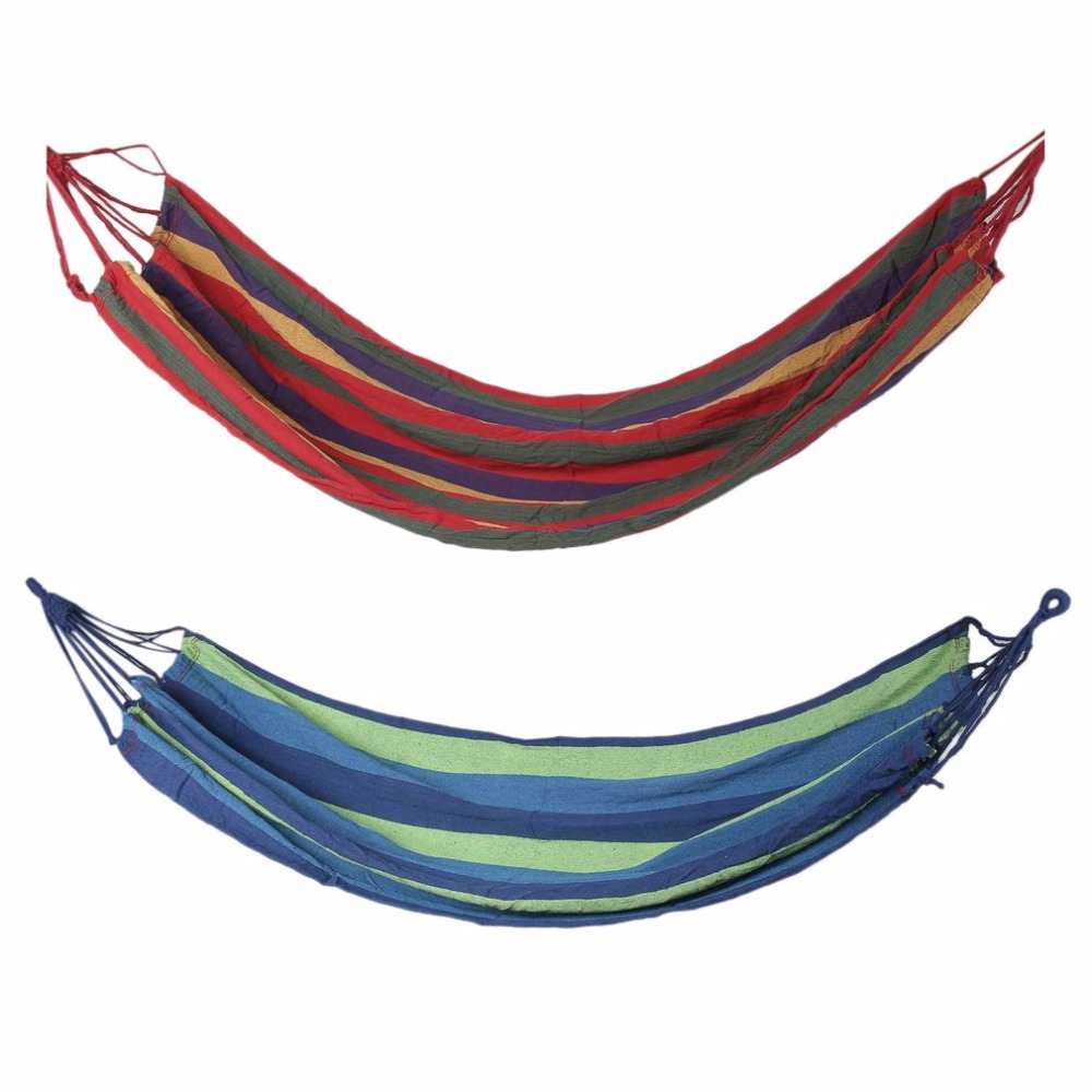 2018 New Arrival Outdoor Portable Hammock Garden Sport Home Travel Camping Canvas Stripe Hang Swing Single Bed Hammock Red/Blue single person hammock canvas thicken camping indoor and outdoor travel furniture swing go to bed colorful easy to fold carry