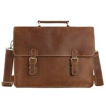 "ROCKCOW Genuine Leather Briefcases 15 "" Laptop Bag Vintage Style Handbag Retro Brown Crazy Horse Leather 7035B-1"