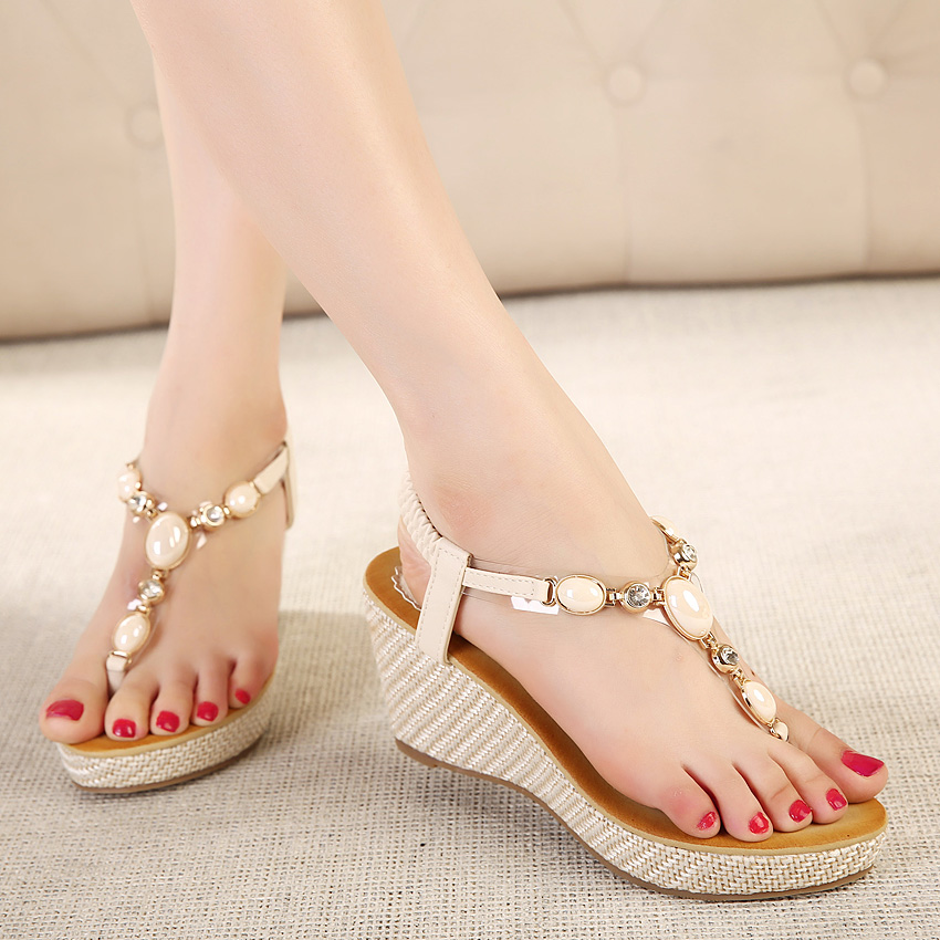 c64f31e285a3 Summer new women fashion sandals sweet slope with comfortable wild sandals  Bohemian diamond clip toe woman shoes size 40-in High Heels from Shoes on  ...