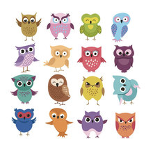 set cartoon kids iron on transfer for clothing cute funny small owls stickers clothes children heat diy patch