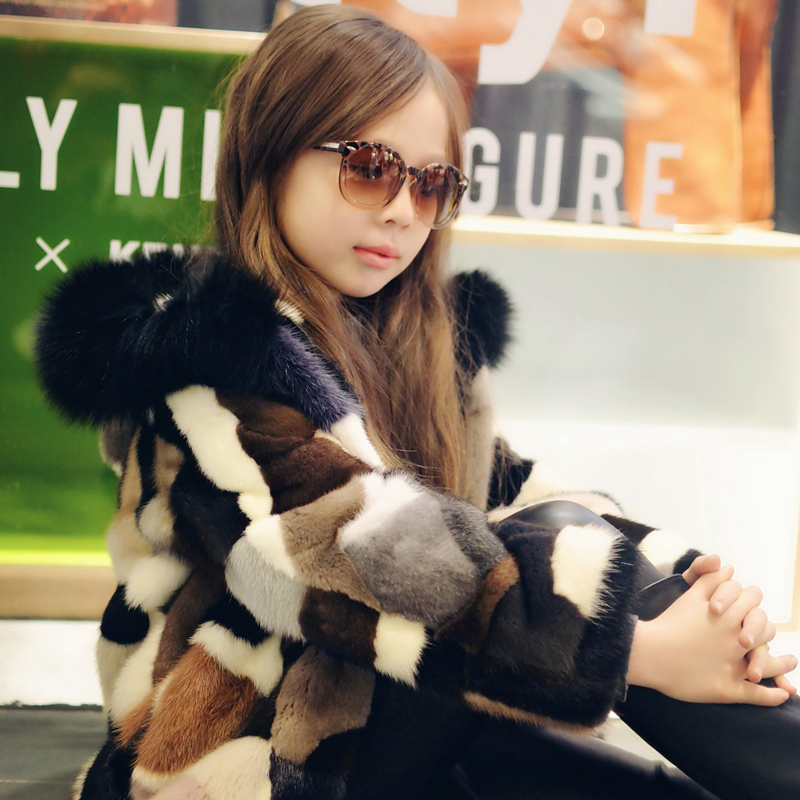 Fashion temperament children's fur mink fur coat fight mink long fox fur hat whole leather jacket hooded coat kid's winter CT-08