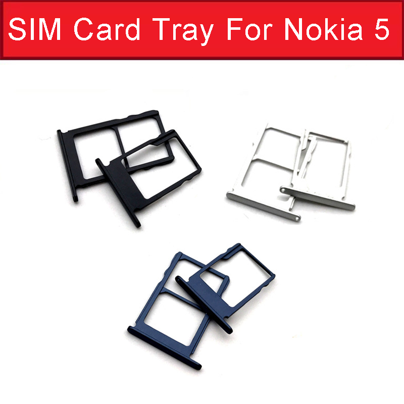 1set Single & Dual Sim Card Tray Holder For Nokia 5 N5 TA-1024 TA-1027 TA-1044 TA-1053 Micro SD Card Slot Socket Adapter Parts