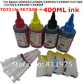 73 73N Refillable ink cartridge for EPSON Stylus CX5501 CX5505 CX5600 CX5900 CX6900F CX7300 CX7310 + for EPSON Dey ink 400ML