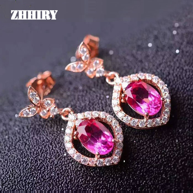 Zhhiry Natural Pink Topaz Earring Genuine Solid 925 Sterling Silver Real Gem Earrings Women Stone Fine