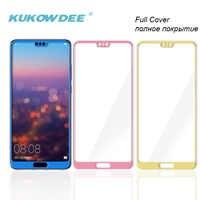 Protector de pantalla de cobertura completa 3D para Huawei P20 Lite NOVA 3e, lámina de vidrio templado, película Azul, Rosa, dorado, P20lite Pro