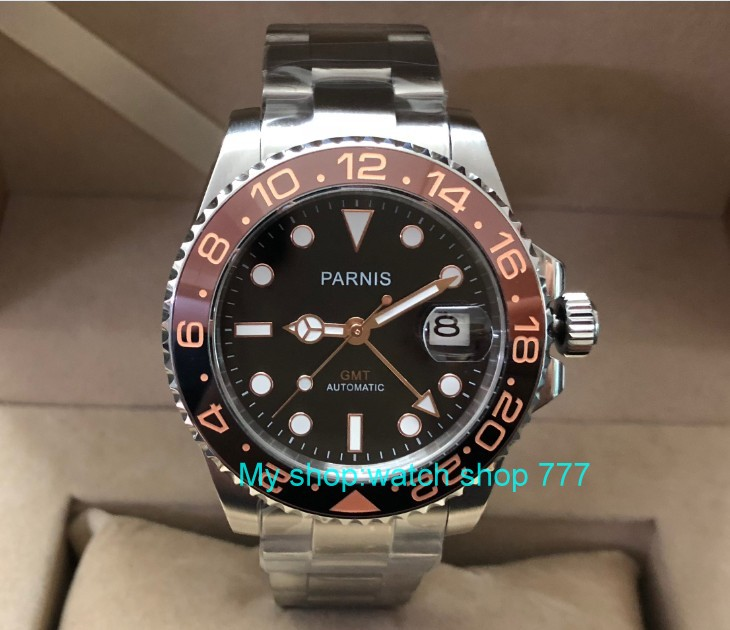40mm PARNIS Sapphire Crystal GMT Automatic machinery movement rotateing bezel Luminous men s watches pa63 p8