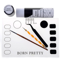 BORN PRETTY Silicone Stamping Mat Drawing Liner Brush Dotting Pen Tweezer Manicure Nail Art Tool Set