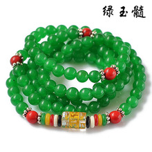 Fashion 6mm Green Chalcedony Tibetan Buddhist 108 Prayer Beads Necklace Gourd mala Bracelet for Meditation